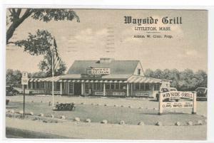 Wayside Grill Littleton Massachusetts 1949 postcard