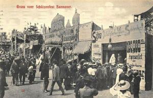 Hannover Germany Gruss vom Schutzenfest Busy Scene Postcard