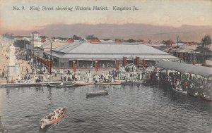 King Street Victoria Market Boats Pier Kingston Jamaica BWI 1910c postcard
