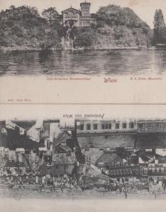 Wien Panorama Cafe Restaurant Konstantinhuel 2x Antique Austrian Postcard s