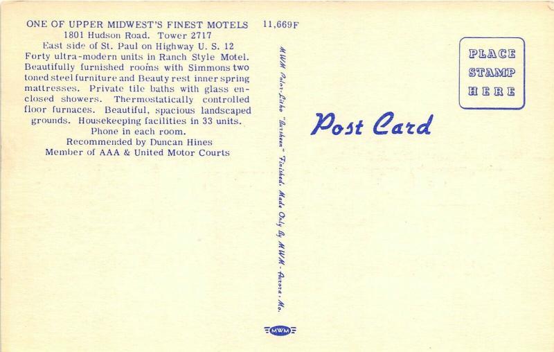 St. Paul Minnesota 1940s Postcard Lakes and Pines Motel