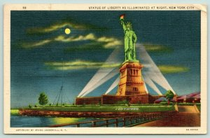 New York City~Illuminated Statue of Liberty @ Night~Moon in Sky~Fortwood~1941