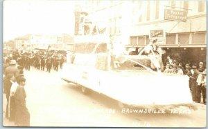 1938 Brownsville, Texas RPPC Postcard CHARRO DAYS PARADE Float - Wright Photo