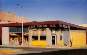 Salida Colorado~First National Bank Clock~Diner~Soda Sandwiches~1950s Postcard