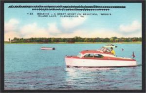 Clarksville VA Motor Boat on Bugg's Island Lake 1940s-1950s Linen Postcard