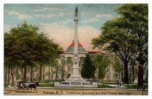 Confederate Monument and State Capitol, Raleigh, NC Postcard *5N2