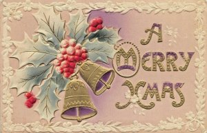A MERRY CHRISTMAS~HEAVILY EMBOSSED-AIR BRUSHED-GILT~1910s POSTCARD