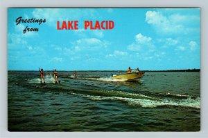 Lake Placid FL-Florida, Greetings, Water Skiing Beauties, Boat, Chrome Postcard