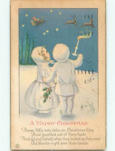 Pre-Linen christmas KIDS WATCH SANTA FLYING HIS SLED k1169