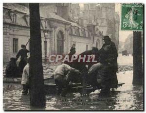 Old Postcard Paris La Grande Crue De La Seine January 1910 Rescue of the stre...