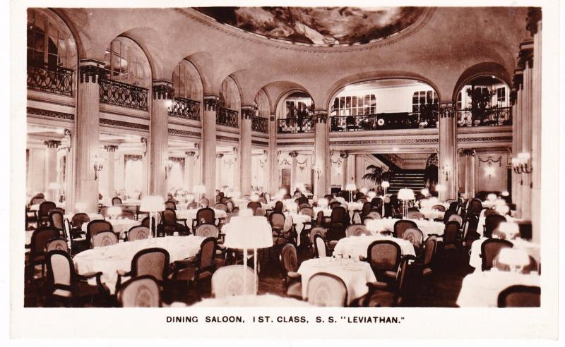 S.S.LEVIATHAN SHIP DINING ROOM REAL PHOTO PC INTERIOR PRINTED IN GREAT BRITAIN