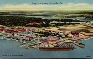 Florida Pensacola Aerial View U S Naval Air Station 1952 Curteich