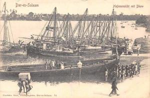 German East Africa Tanzania Dar-es-Salaam, Hafenansicht mit Dhow, Bateaux, Boats