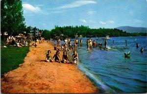 Postcard NY New York Saranac Lake Municipal Bathing Beach Lake Flower Unposted