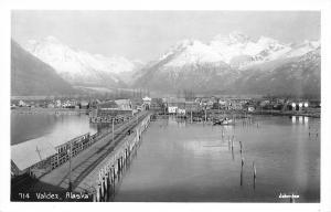 Valdez Alaska~Bridge Pier Into Town~Alaska Motor Coach on Wharf~1940s RPPC