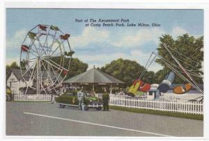 Amusement Park Police Car Lake Milton Ohio postcard