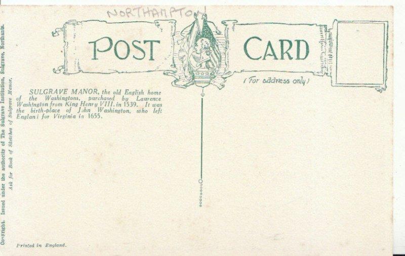 Northamptonshire Postcard - Sulgrave Manor - Ref ZZ5627