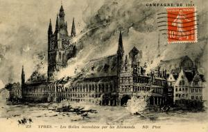 Belgium - Ypres (WWI) 1914, Les Halles on Fire