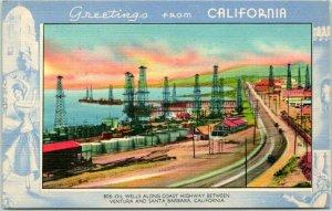 1940s California Postcard Oil Wells Along Coast, Ventura / Santa Barbara Linen