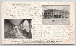 Hot Springs AR~Klein & Price Great Northern Hotel~Rocking Chairs on Veranda~1907