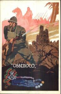 WWI Italy Military Propaganda Soldier Bayonet OBBEDISCO Poster Art Postcard