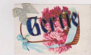Gertie Written in Glitter w/ Basket of Pink Roses & Light Blue Ribbon Glued t...