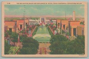 Dallas Texas~Centennial Expo~Reflection Basin~Esplanade of State~Linen P.C~c1936