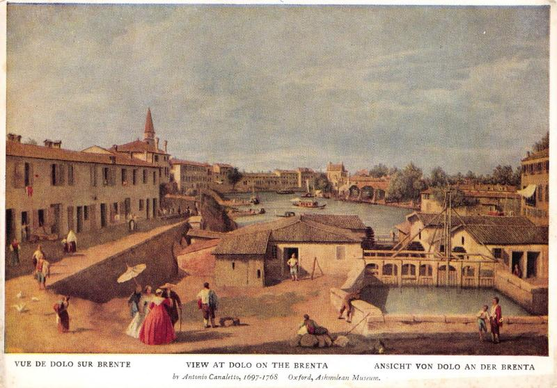 Art Postcard, View at Dolo on the Brenta by Antonio Canaletto X63