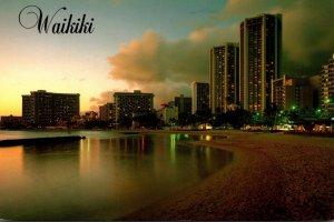Hawaii Waikiki Beach At Sunset 1992