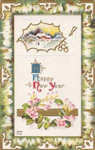 Happy New Year Flowers with Landscape Scene 1910