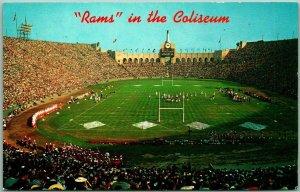 1960s Los Angeles, CA Postcard RAMS in the Coliseum Football Game Scene Unused