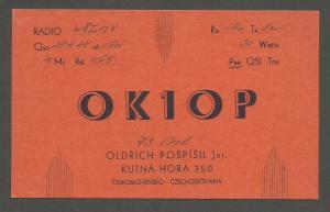 QSL AMATEUR RADIO CARD – KUTNA HORA, CZECHOSLOVAKIA– 1948
