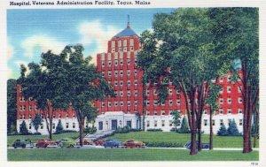 Hospital Veterans Administration Facility Togus Maine Vintage Linen Post Card