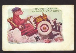 HOPT TO RUN ACROSS YOU SOON AUTOMOBILE CAR WRECK VINTAGE COMIC POSTCARD