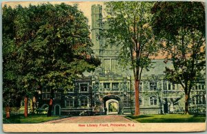 PRINCETON UNIVERSITY New Jersey Postcard New Library Front 1908 NJ Cancel