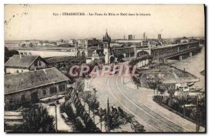 Old Postcard Bridges Strasbourg and Kehl on the Rhine in the distance