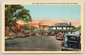 Hyannis Cape Cod MA~Horse Troughs~Main St~City Buses @ Railroad Station~1940s