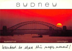 Australia Sydney Harbour Bridge Sunset Boats
