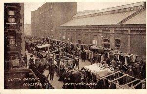 Cloth Market Goulston St. Petticoat Lane London UK c1910s Vintage Postcard
