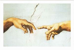 The Creation of Adam Detail of Hands by Michelangelo Art Postcard