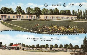 DIAMOND L MOTEL Clovis, New Mexico Highways 60 70 & 84 Roadside c1950s Postcard