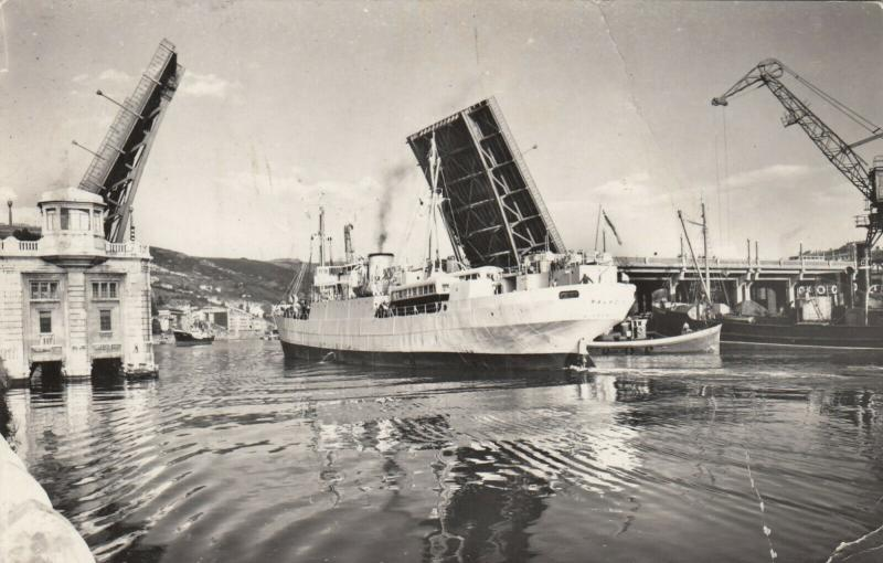 RP: BILBAO, Spain , PU-1958; Ship coming thru raised General Suspension Bridge