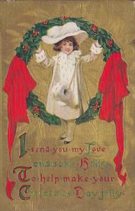 Girl holds a Christmas Wreath with holly berries , 00-10s ; Poem