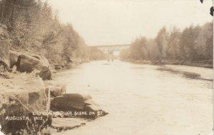 RP: AUGUSTA, Wisconsin, 1939 ; Eau Claire River Scene, Bridge