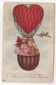PC36 JLs postcard 1912 pm balloon children birds moon nice