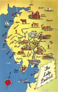 The lake District Map Loweswater Keswick Kendel Ambleside Broughton Postcard