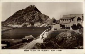 Aden Yemen Seera Island & Causeway Real Photo Postcard
