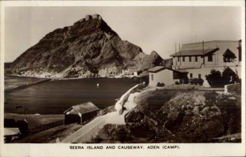Aden Yemen Seera Island & Causeway Real Photo Postcard