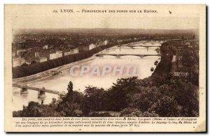 Old Postcard Lyon Perspective Bridges On The Rhone