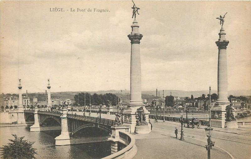 Liege Belgium~Le Pont de Fragnee~Bridge over La Meuse 1940 B&W